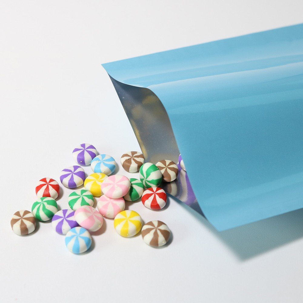 Light Blue Metallized Flat Open Top Bags 7 cm x 10 cm [2.75 inches x 4 inches] (500 Bags/Lot)