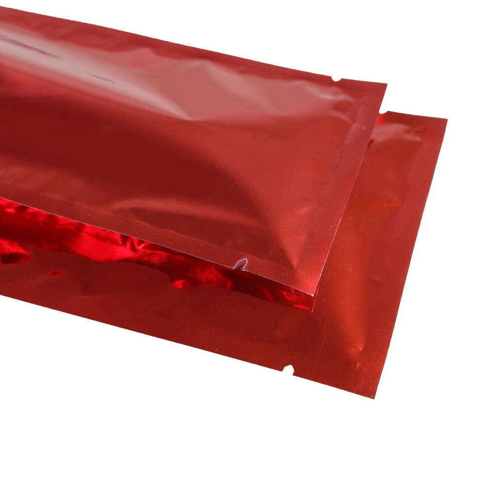 Red Metallized Flat Open Top Bags 12 cm x 18 cm [4.75 inches x 7 inches] (500 Bags/Lot)