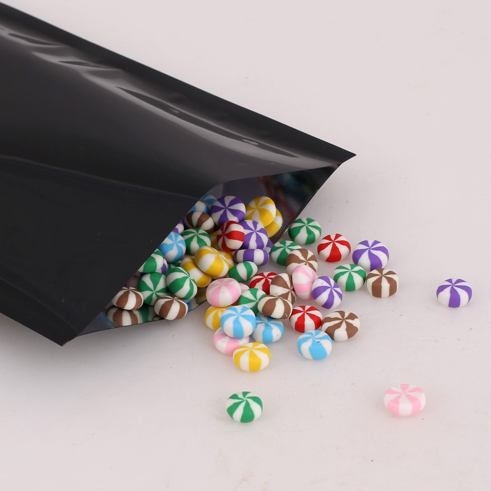 Black Metallized Flat Open Top Bags 10 cm x 15 cm [4 inches x 6 inches] (500 Bags/Lot)