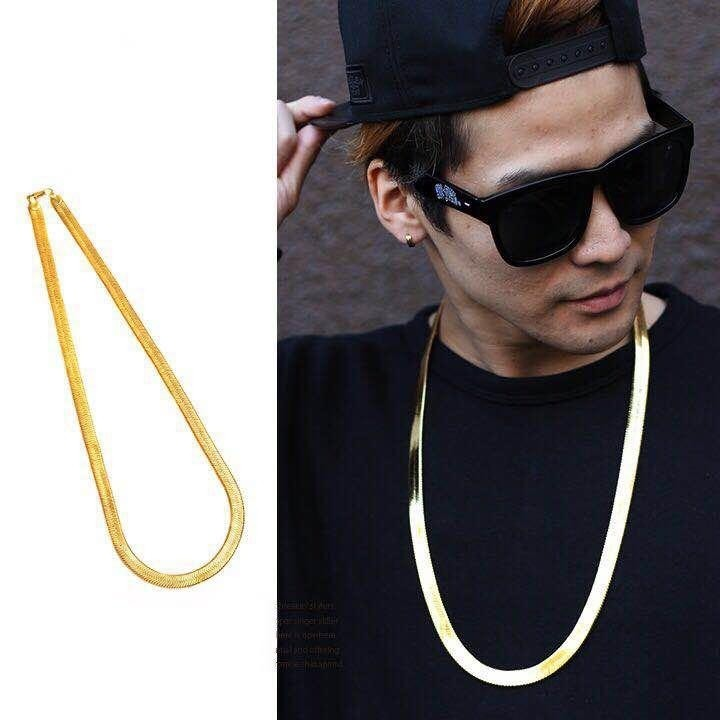 "Unisex Herringbone Chain 14k Gold Plated 24"" Necklace"
