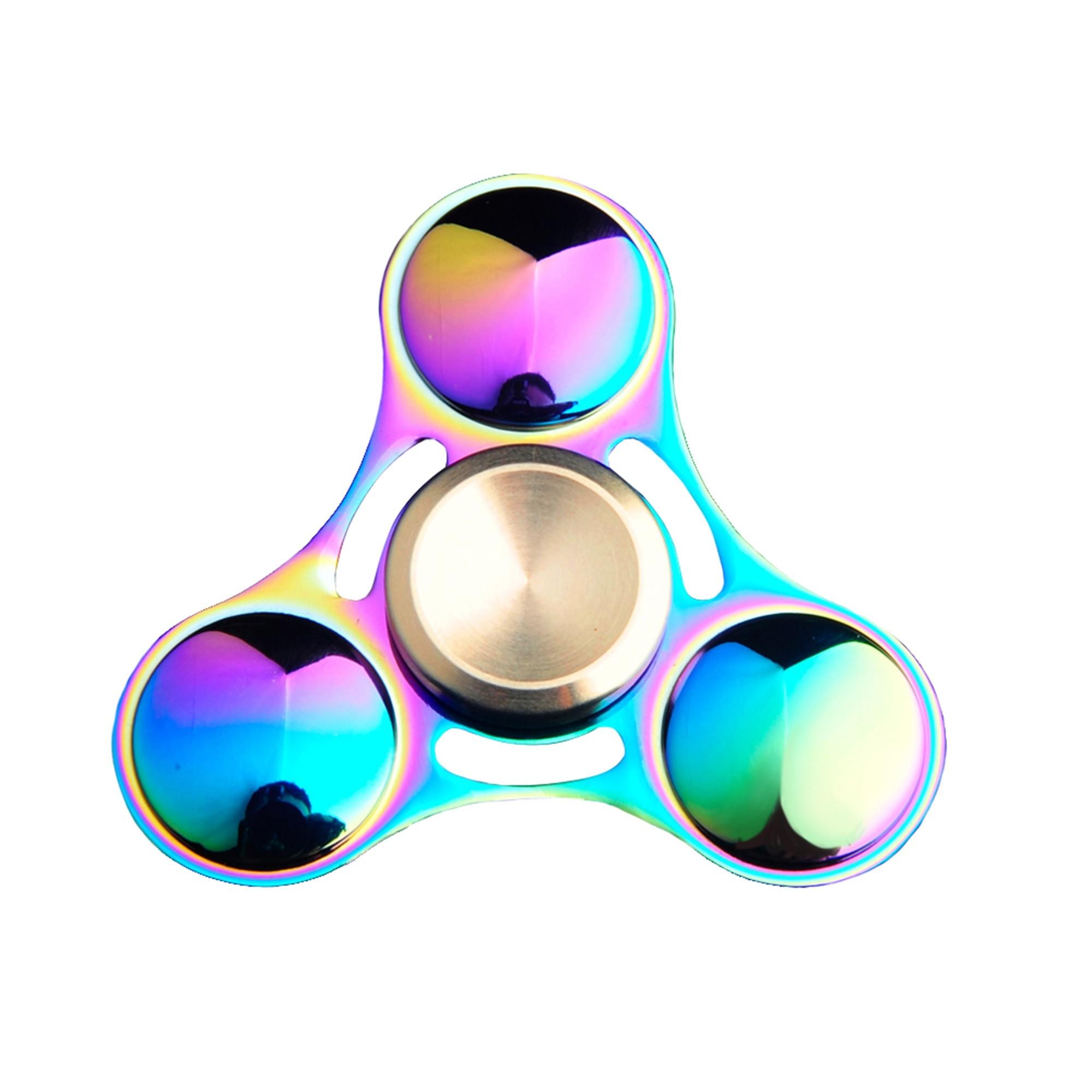 Rainbow Aluminum Metal Round Tri Fidget Spinner for Anxiety & Stress Relief (1 Fidget Spinner/Lot)