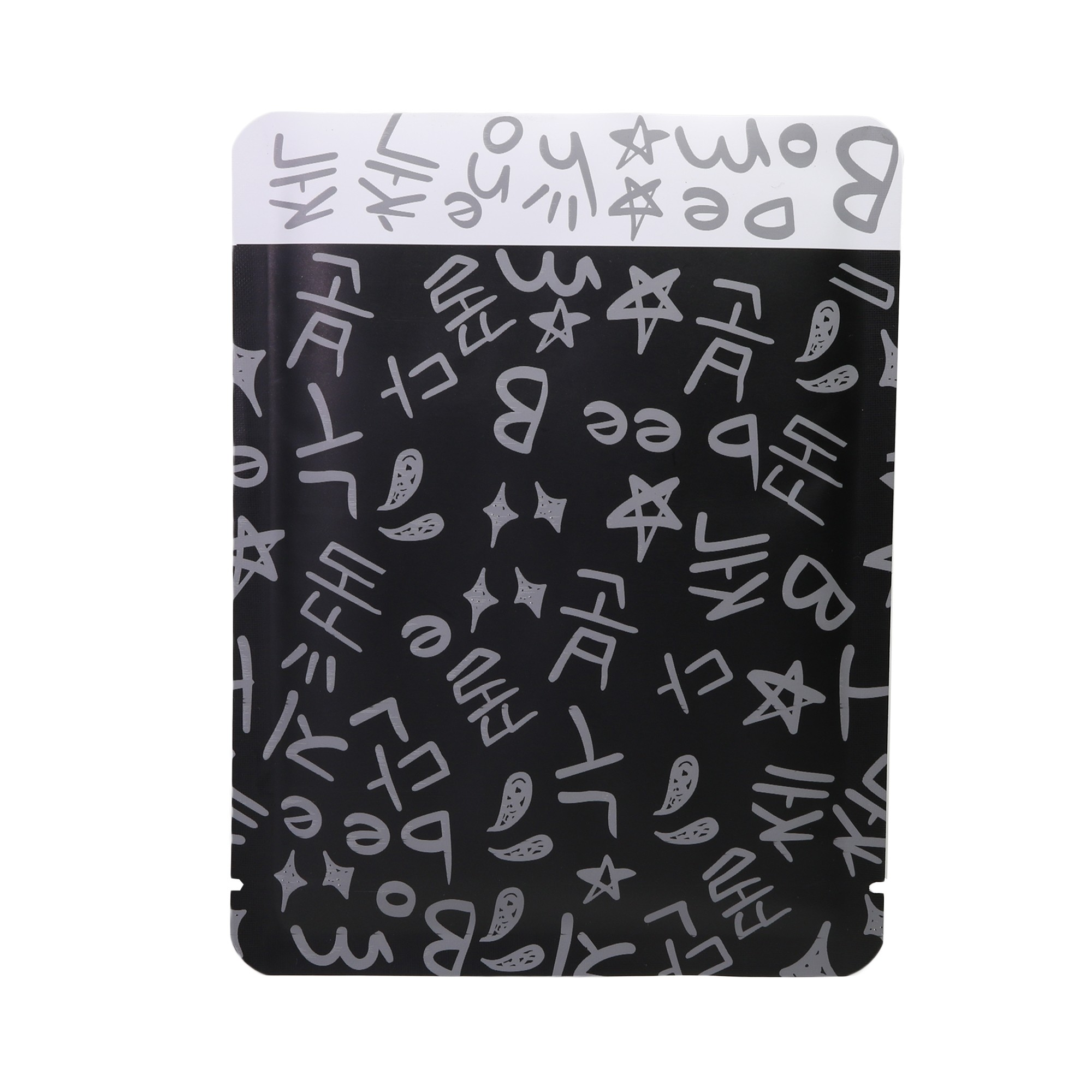 Double-Sided Black & Gray Writing Aluminum Mylar Flat Open Top Bags 12 cm x 16 cm [4.7 inches x 6.3 inches] (500 Bags/Lot)