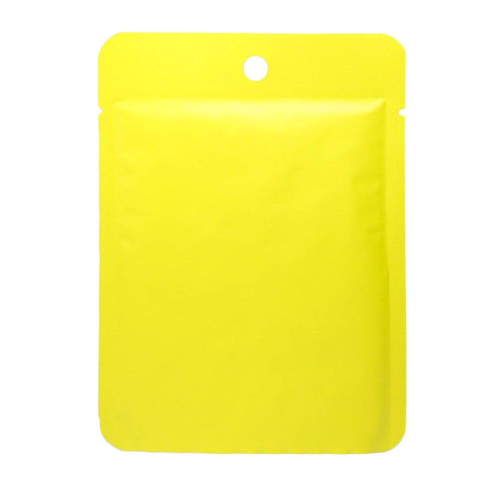 Yellow Metallized Flat Open Bottom Bags with Round Hang-Hole 10 cm x 14 cm [4 inches x 5.5 inches] (500 Bags/Lot)