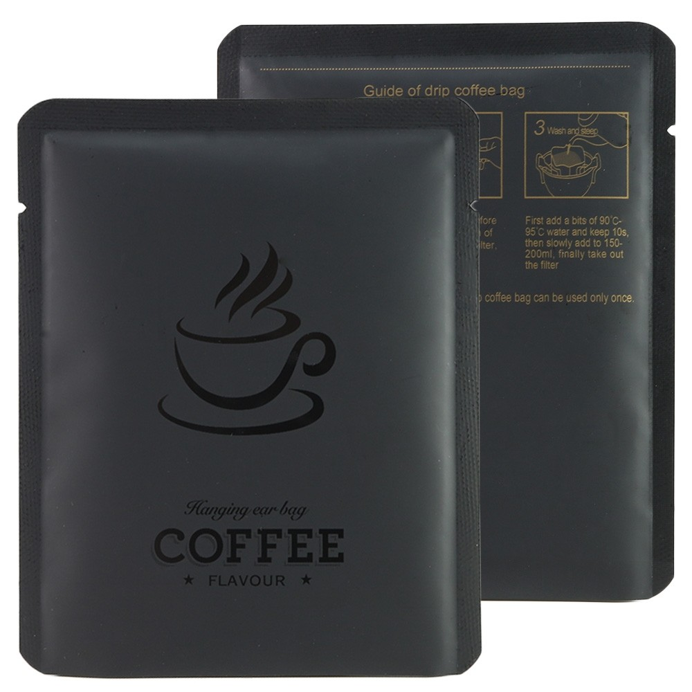 Black Coffee Imprint Design Mylar Foil Flat Open Bottom Bags 10 cm x 12 cm [4 inches x 4.7 inches] (500 Bags/Lot)