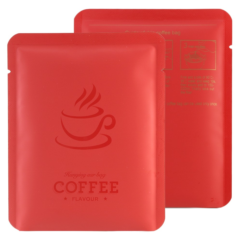 Red Coffee Imprint Design Mylar Foil Flat Open Bottom Bags 10 cm x 12 cm [4 inches x 4.7 inches] (500 Bags/Lot)