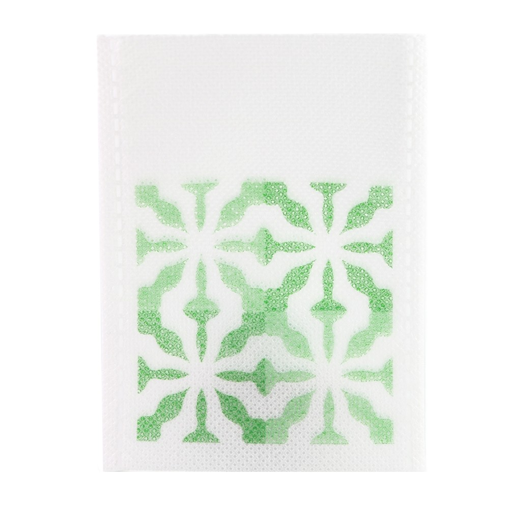 Green Design & White Non-Woven Flat Open Heat Sealable Pouch 8 cm x 11 cm [3.1 inches x 4.3 inches] (500 Bags/Lot)