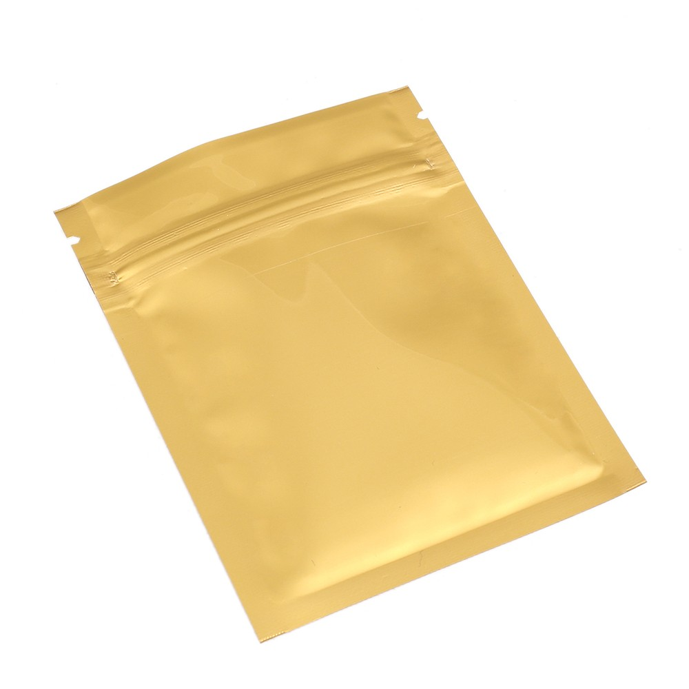 Gold Shiny Metallic Mylar Ziplock Bags 7.5 cm x 10 cm [3 inches x 4 inches] (500 Bags/Lot)