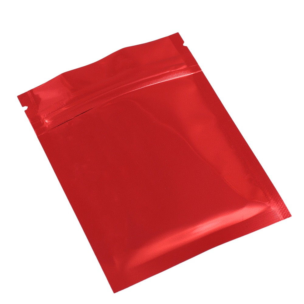 Red Shiny Metallic Mylar Ziplock Bags 7.5 cm x 10 cm [3 inches x 4 inches] (500 Bags/Lot)