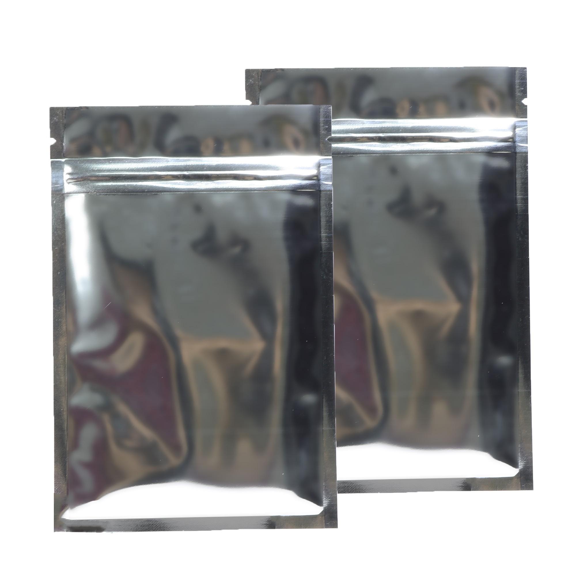 Silver Shiny Metallic Mylar Ziplock Bags 8.5 cm x 13 cm [3.3 inches x 5.1 inches] (500 Bags/Lot)