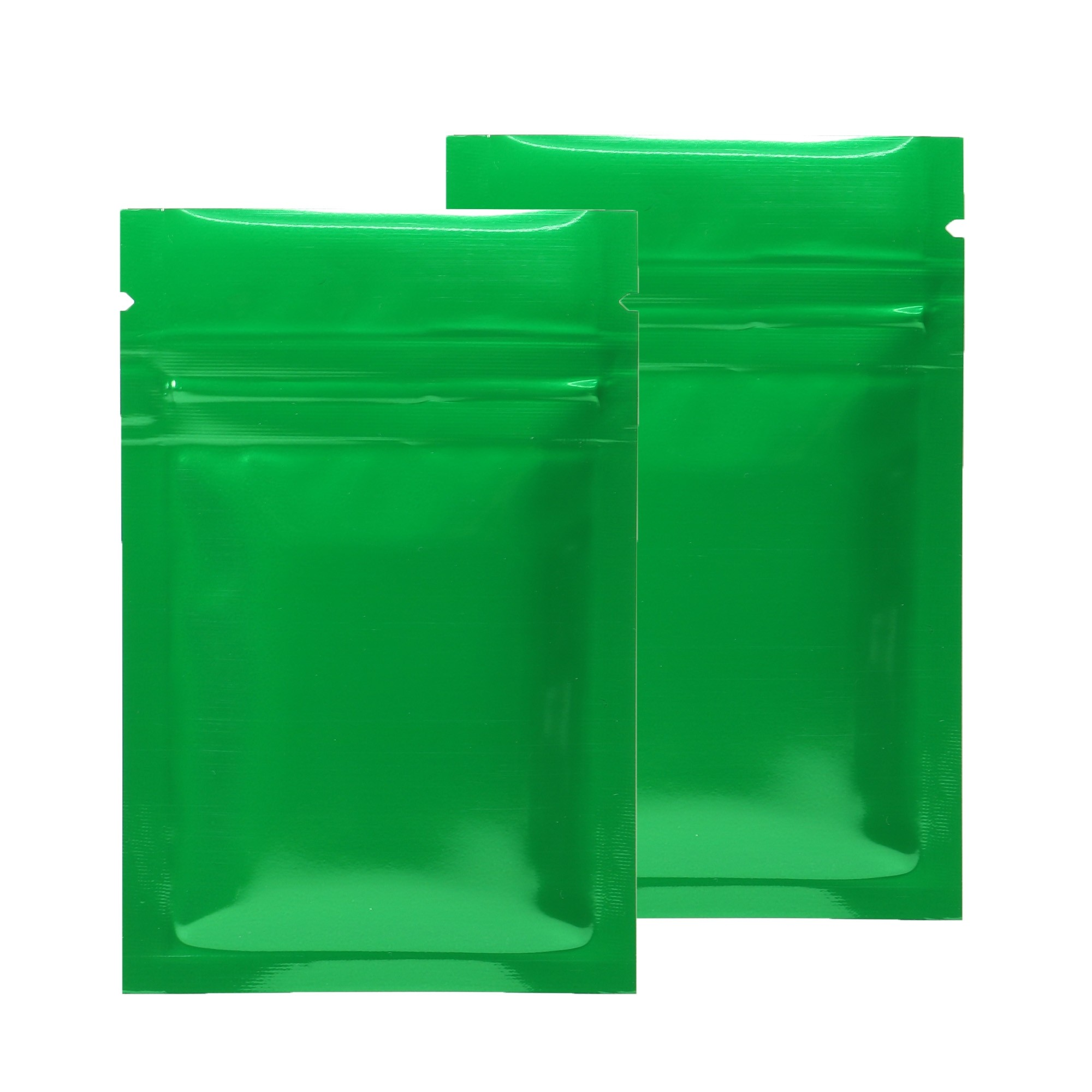 Green Shiny Metallic Mylar Ziplock Bags 6 cm x 9 cm [2.4 inches x 3.5 inches] (500 Bags/Lot)