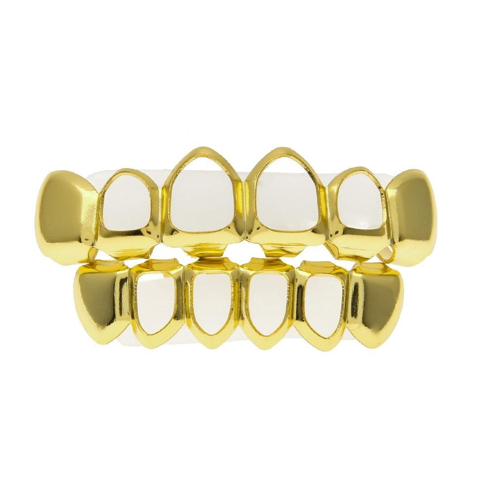 Hip Hop Gold Plated Bottom/Top Teeth Grills Set With Fangs