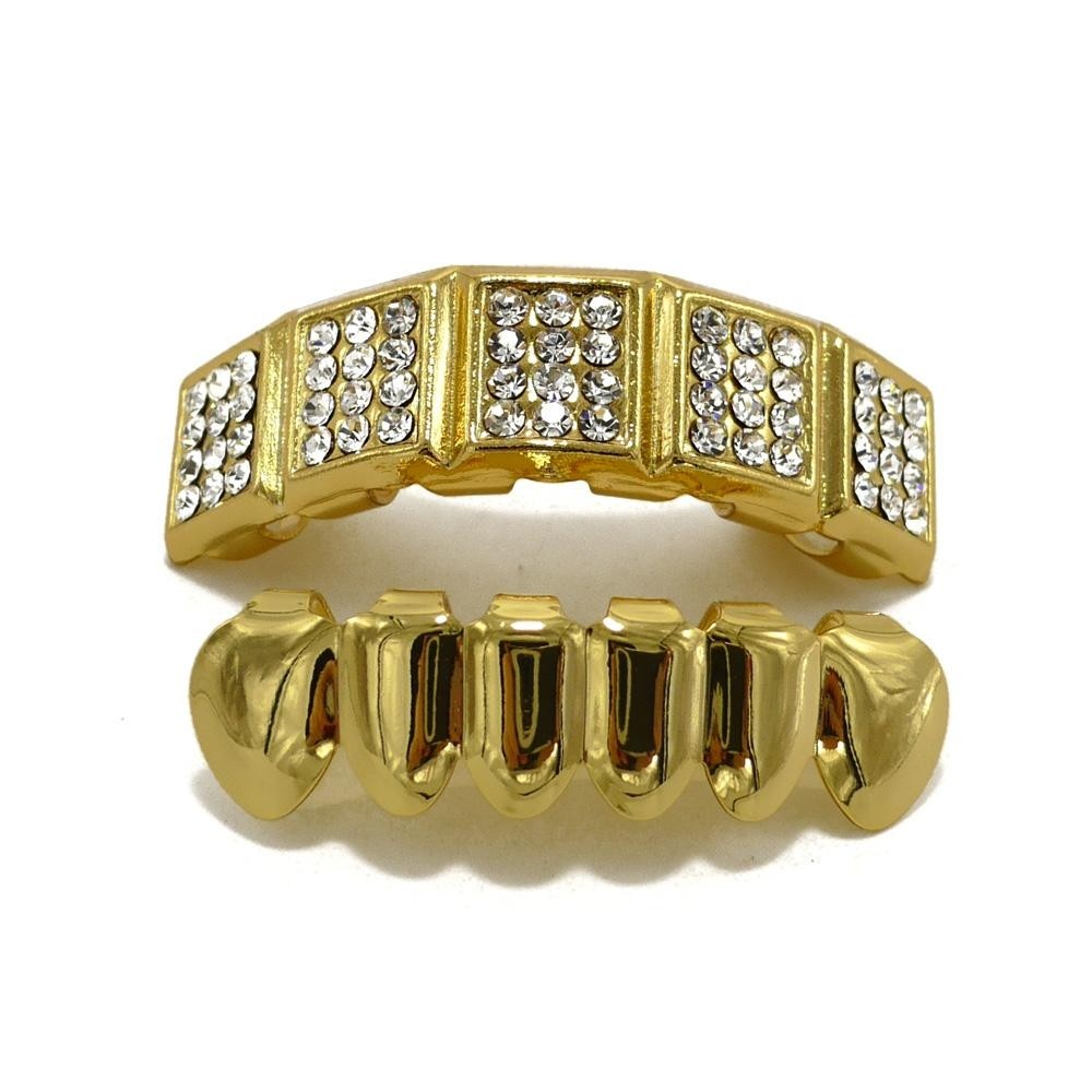 High Quality Hip Hop Gold Plated Grills With Diamond Studs