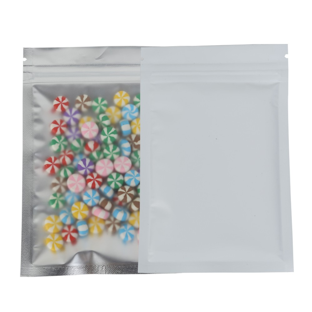 Translucent Front White Back Mylar Foil Ziplock Bags 8.5 cm x 13 cm [3.3 inches x 5.11 inches] (500 Bags/Lot)