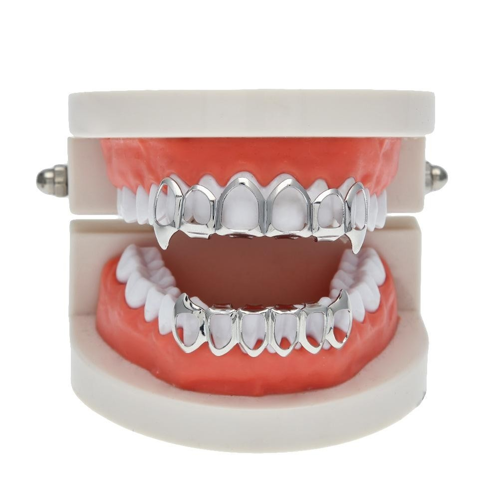 Silver Plated Hip Hop Teeth Grillz Open Face Fangs Top   Bottom Set ... a972de11d949