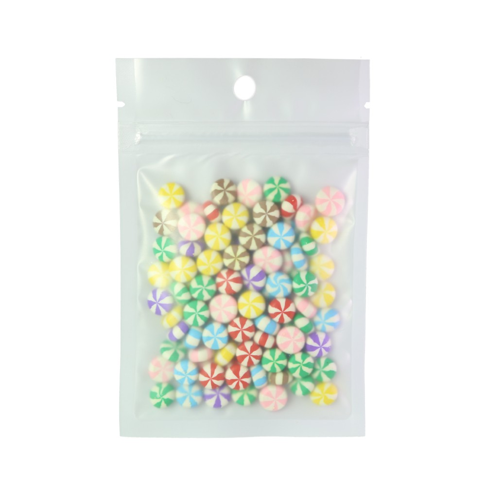 Translucent and White Flat Poly Plastic Ziplock Bags w/ Hanghole 8.5 cm x 13 cm [3.3 inches x 5.1 inches] (500 Bags/Lot)