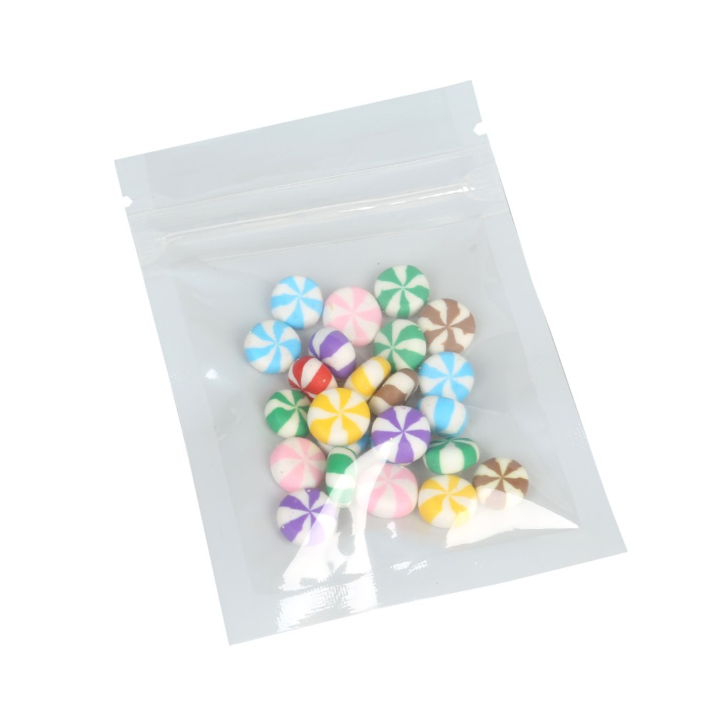 Clear and White Plastic Poly Ziplock Bags 6.5 cm x 9 cm [2.56 inches x 3.5 inches] (500 Bags/Lot)