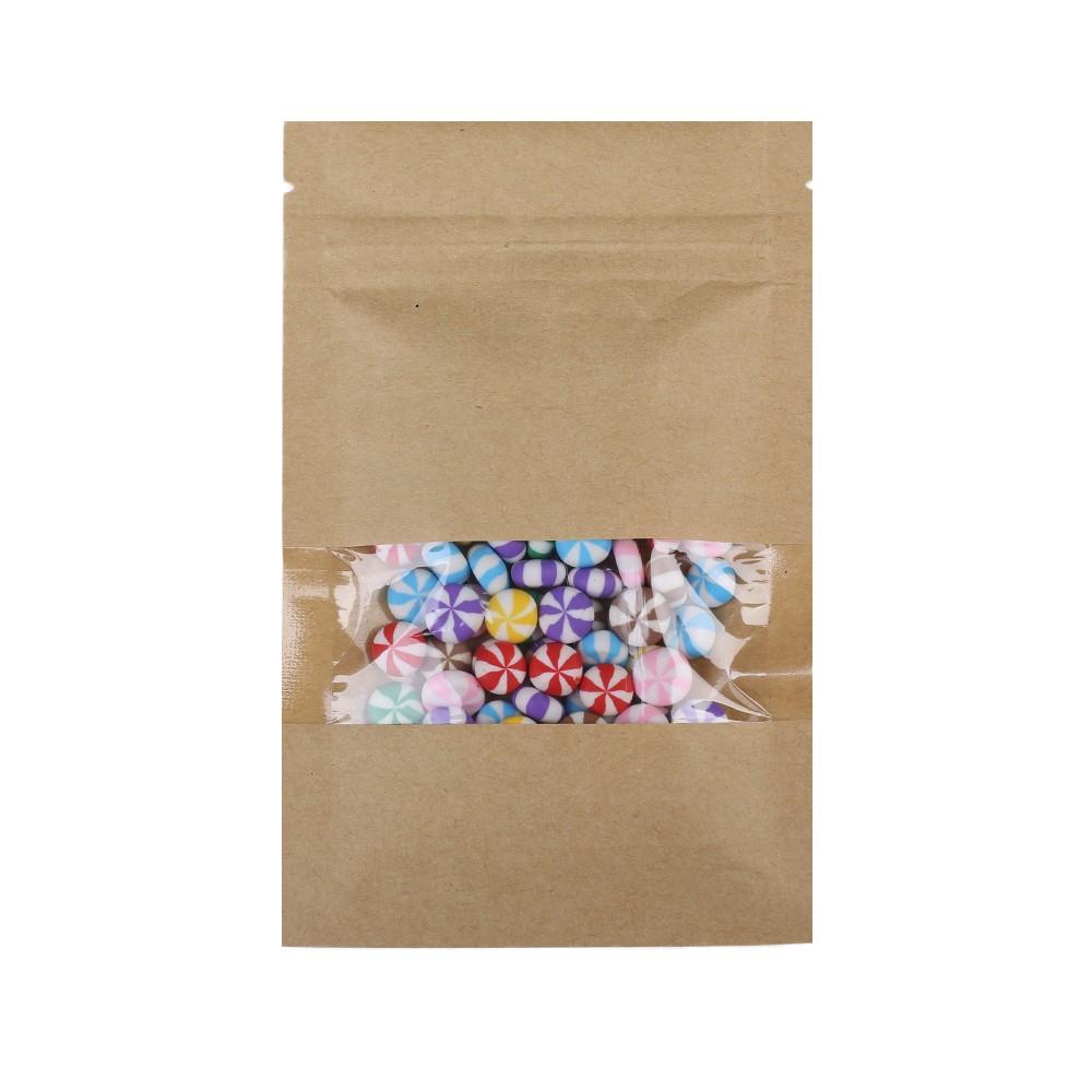 Brown Kraft Flat Ziplock Bags w/ Display Window 9 cm x 14 cm [3.5 inches x 5.5 inches] (500 Bags/Lot)