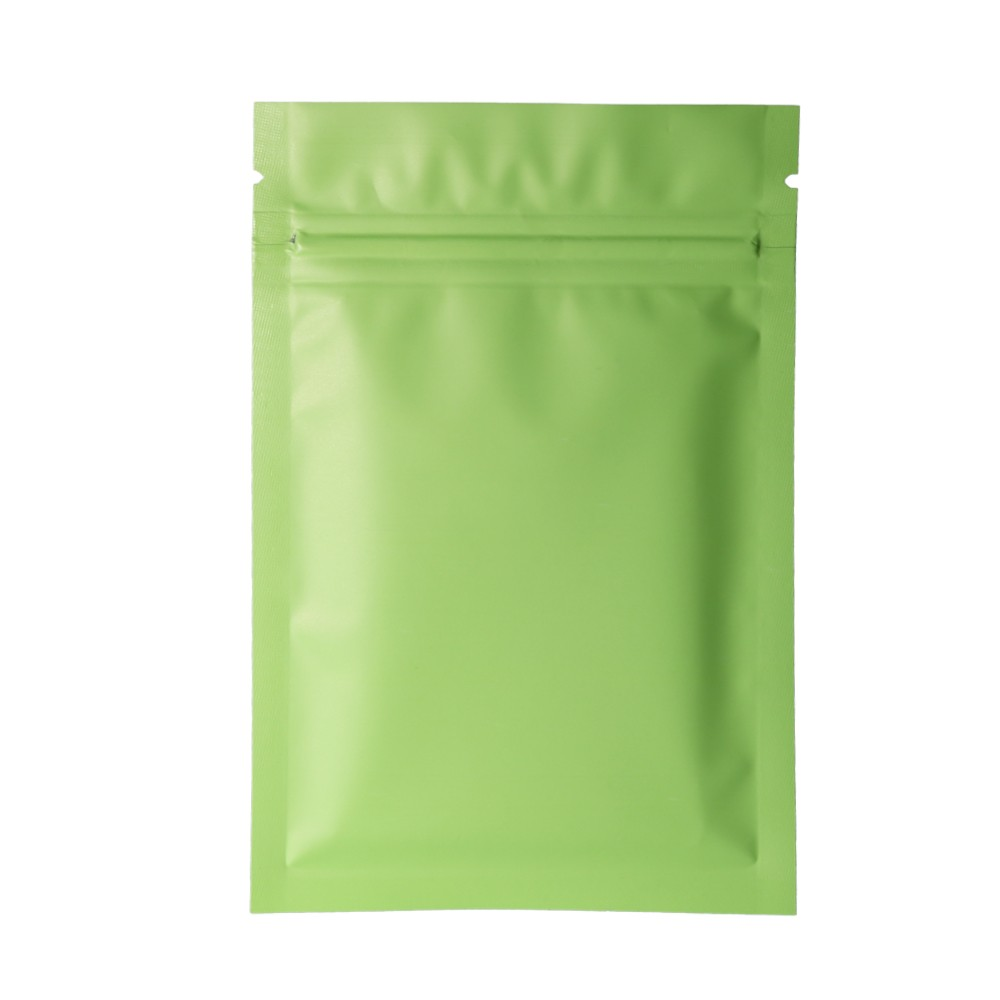 Double Sided Green Matte Metallic Mylar Flat Ziplock Bag 10 cm x 15 cm [4 inches x 6 inches] (500 Bags/Lot)
