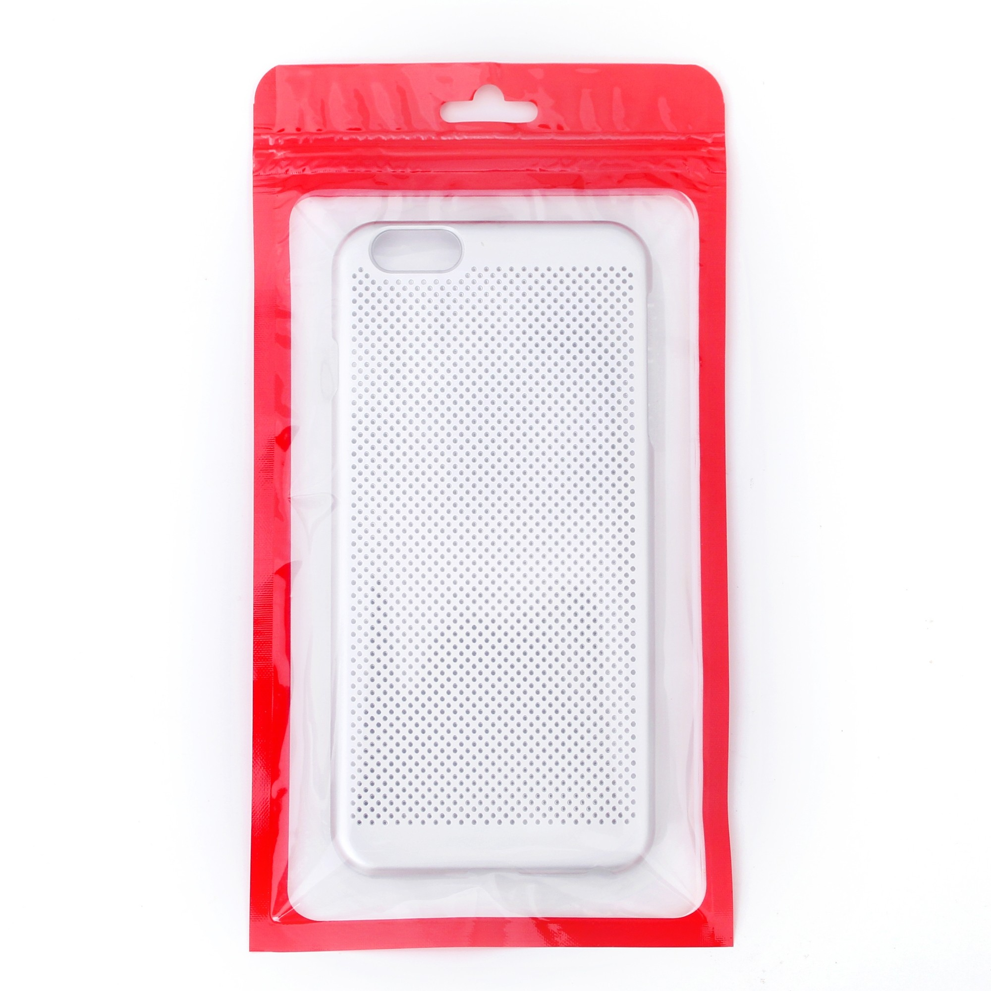 Transparent Red Border Plastic Rounded Corner Ziplock Bag
