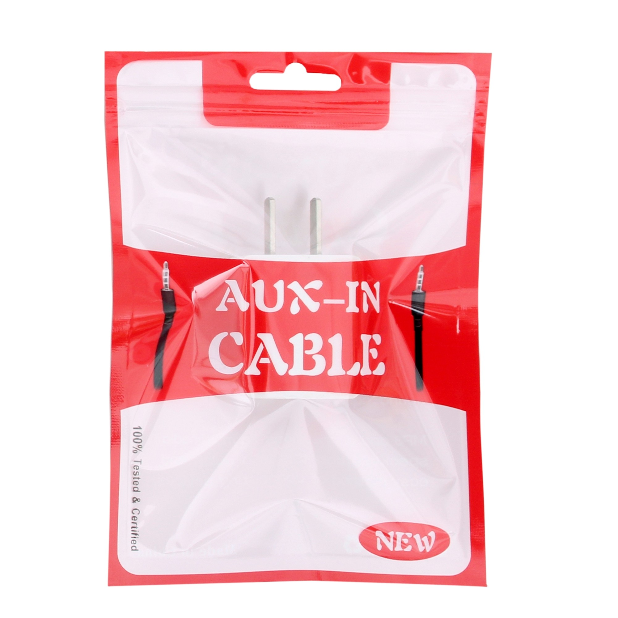 Red Clear Display Aux-In Cable Flat Ziplock Bag with Butterfly Hang-Hole 10 cm x 15 cm [4 inches x 6 inches] (500 Bags/Lot)