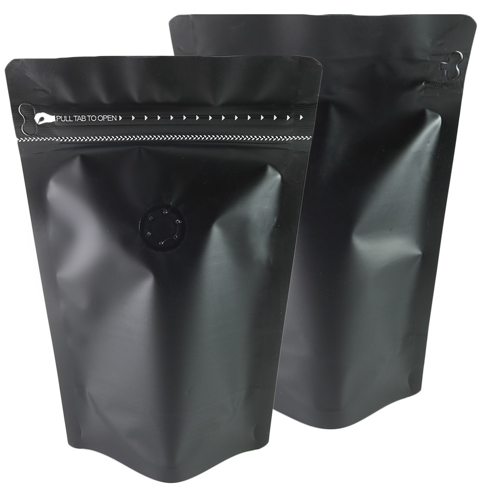 4oz Matte Black Stand-Up Bottom Gusseted Coffee Storage Aluminum Bags with Degassing Valve & Pull Tab (100 Bags/Lot)