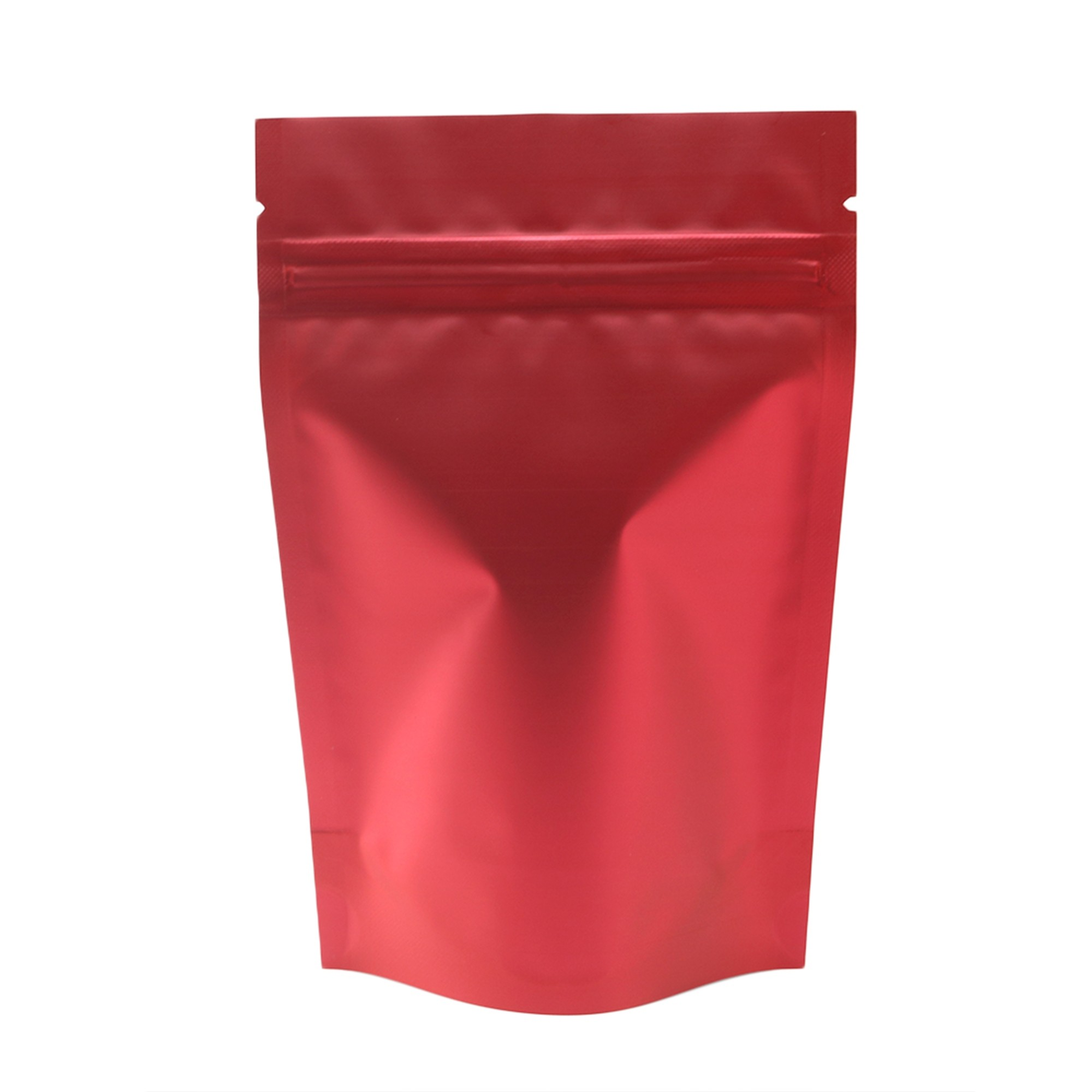 Matte Double-Sided Red Metallic Foil Stand-Up Ziplock Bags 12 cm x 18 cm [4.7 inches x 7.1 inches] (500 Bags/Lot)
