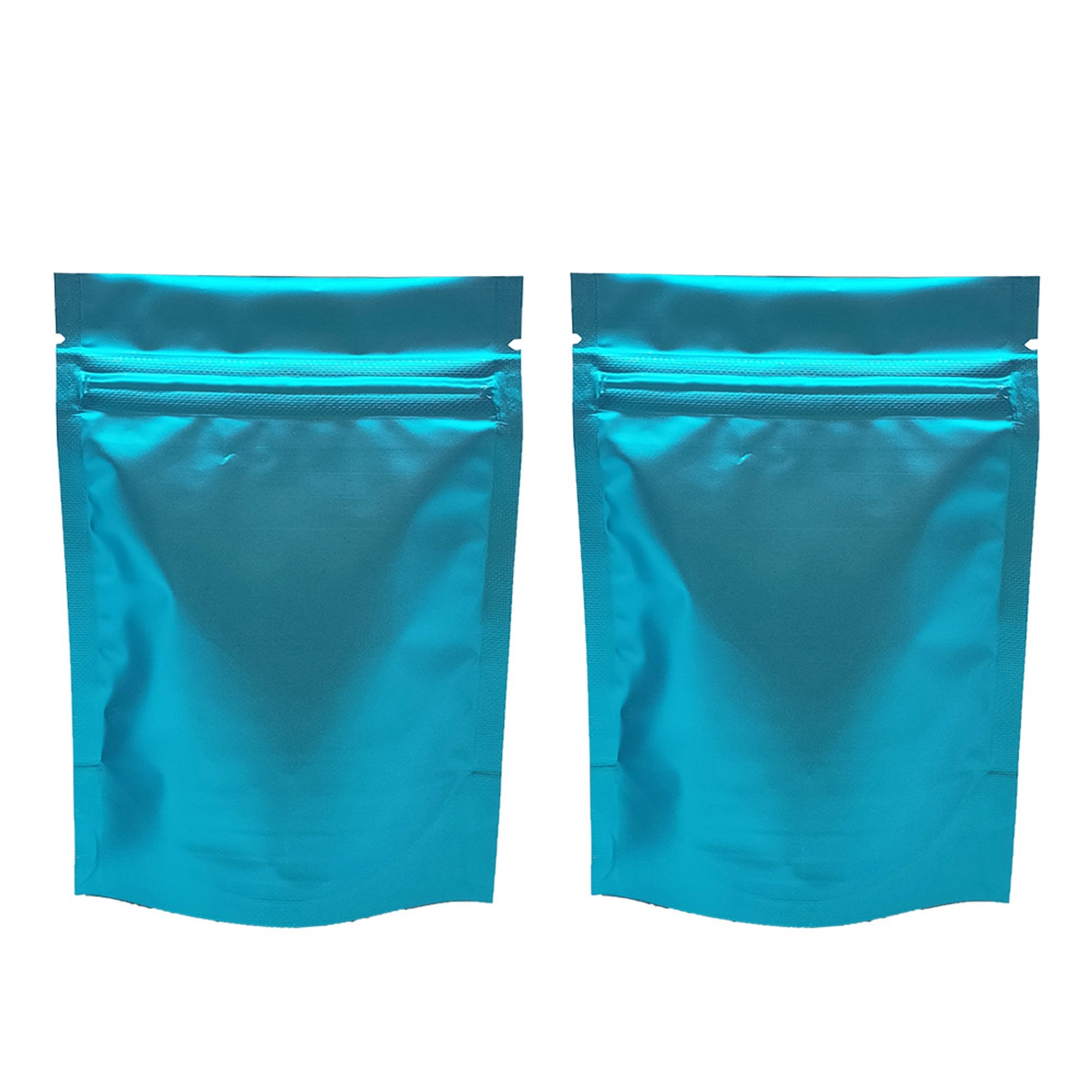 Matte Double-Sided Blue Metallic Foil Stand-Up Ziplock Bags 12 cm x 18 cm [4.7 inches x 7.1 inches] (500 Bags/Lot)