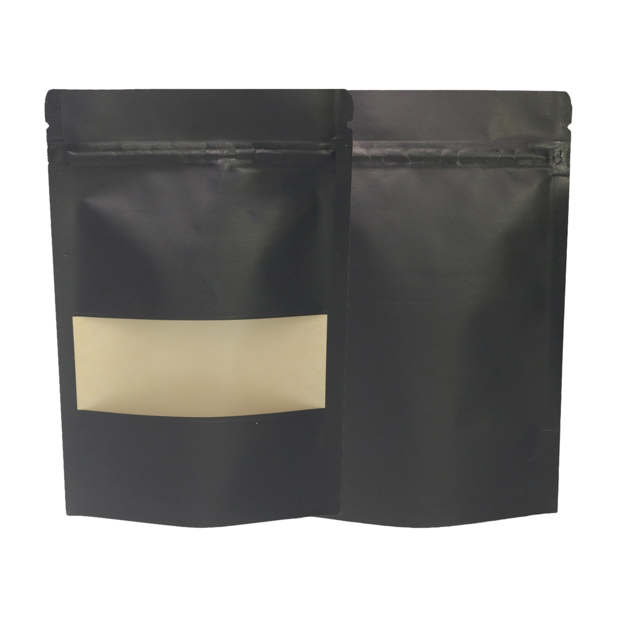 Black Kraft Standup Ziplock Bags w/ Clear Front Window 14 cm x 20 cm [5.5 inches x 7.9 inches] (500 Bags/Lot)