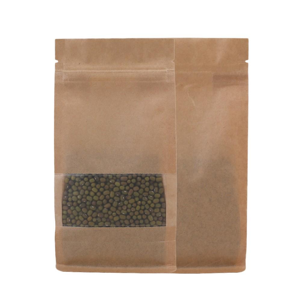 Brown Kraft Side Gusset Standup Ziplock Bags W Clear Front