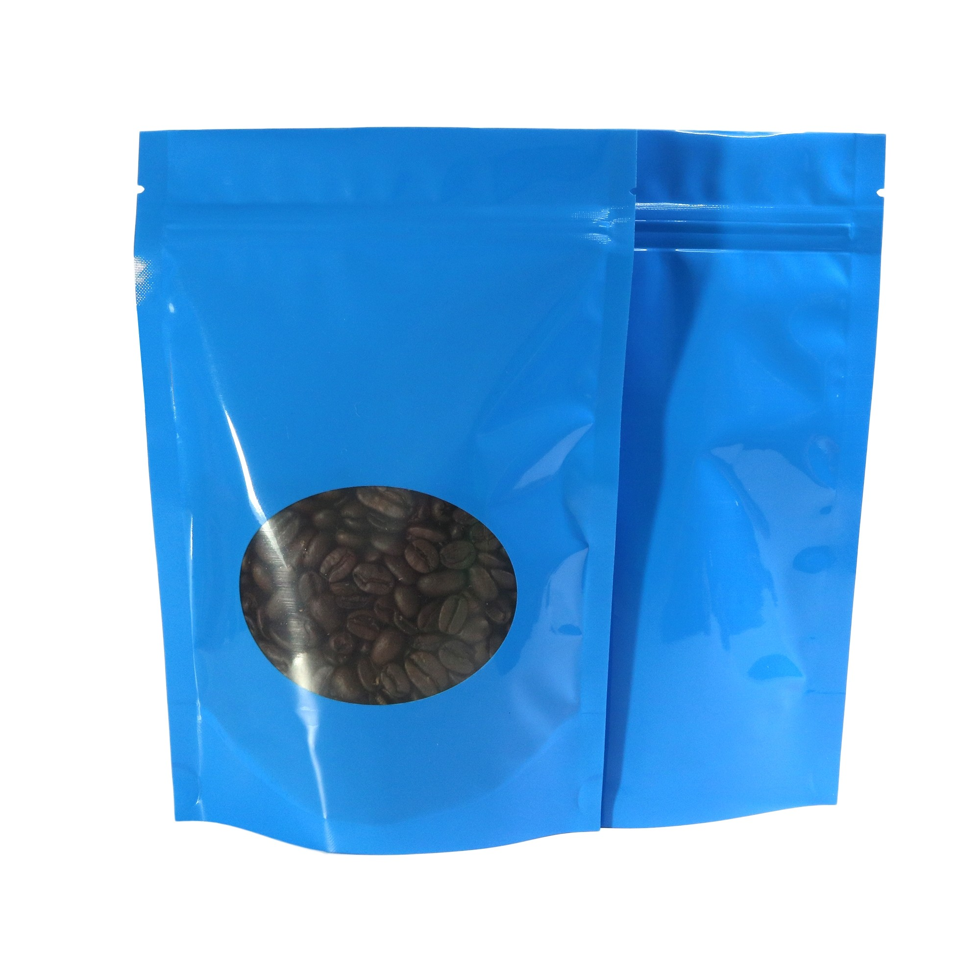 Glossy Blue Clear Round Window Metallic Foil Standup Ziplock Bags 14 cm x 20 cm [5.5 inches x 7.9 inches] (500 Bags/Lot)