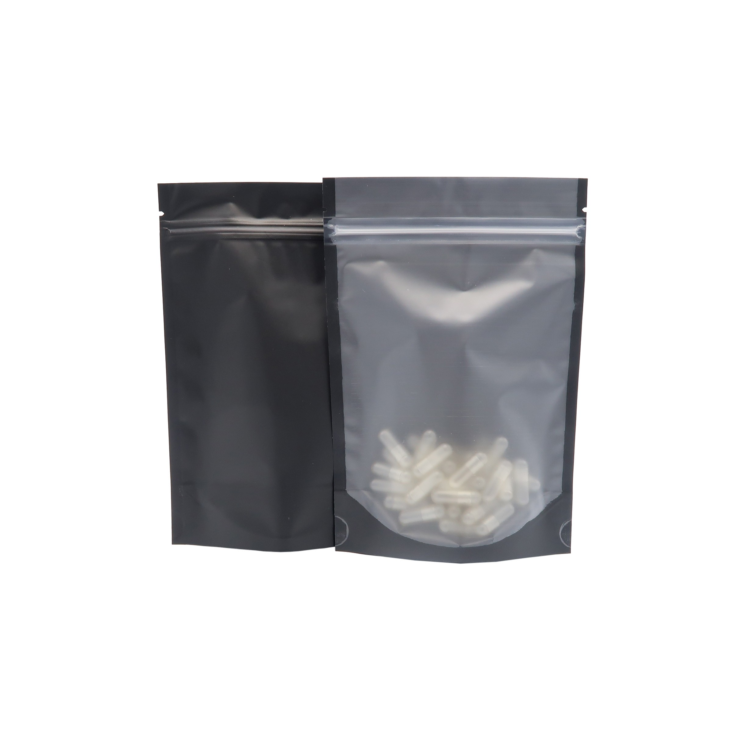 Translucent and Black Stand-Up Poly Plastic Ziplock Bags 10x 15 cm [4 inches x 6 inches] (500 Bags/Lot)