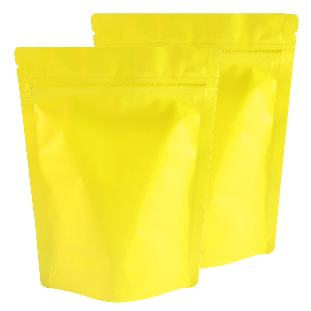 Matte Yellow Aluminum Foil Stand-Up Ziplock Bags 13 cm x 18 cm [5 inches x 7 inches] (500 Bags/Lot)