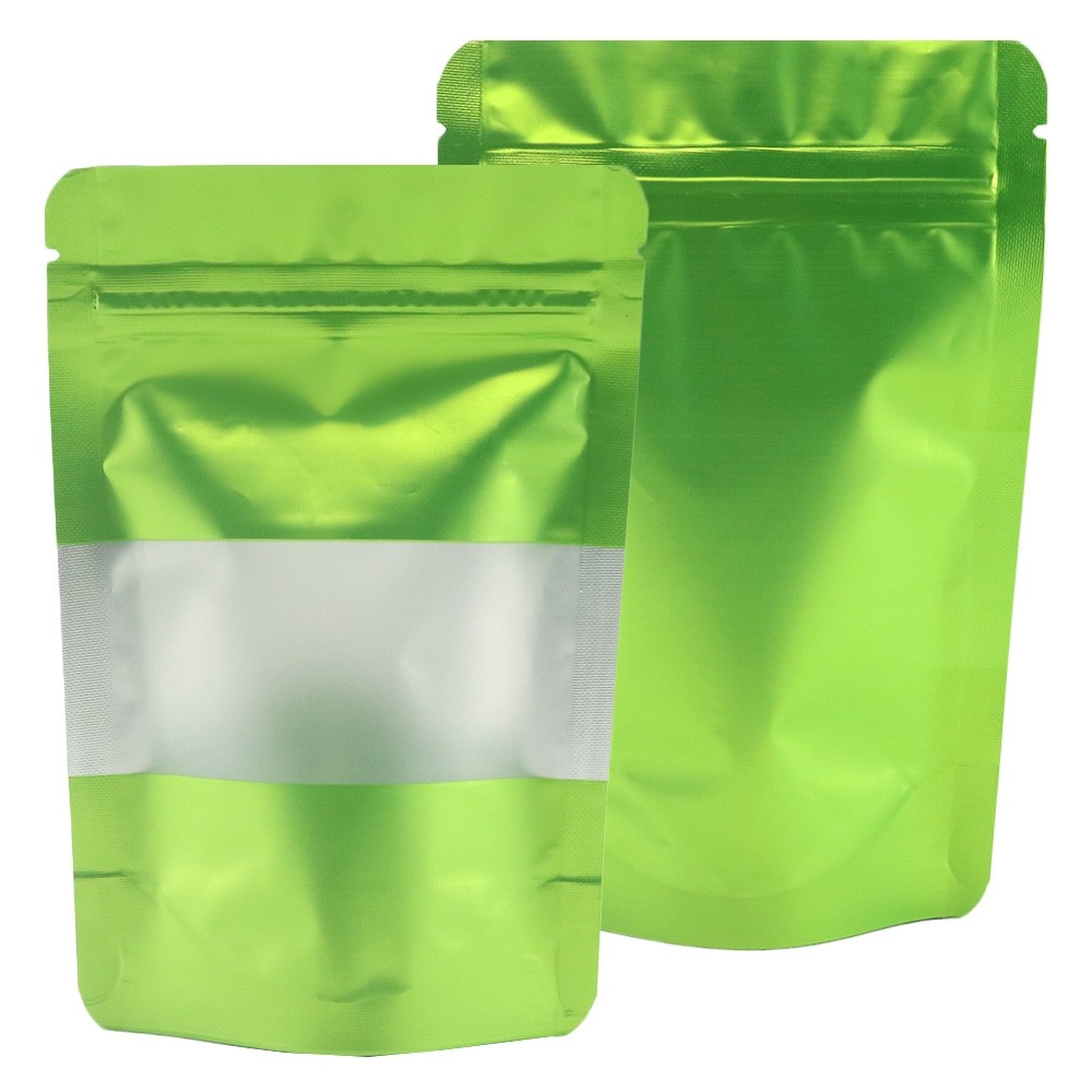Matte Green Translucent Window Aluminum Mylar Foil Standup Ziplock Bags 16 cm x 24 cm [6.3 inches x 9.4 inches] (500 Bags/Lot)