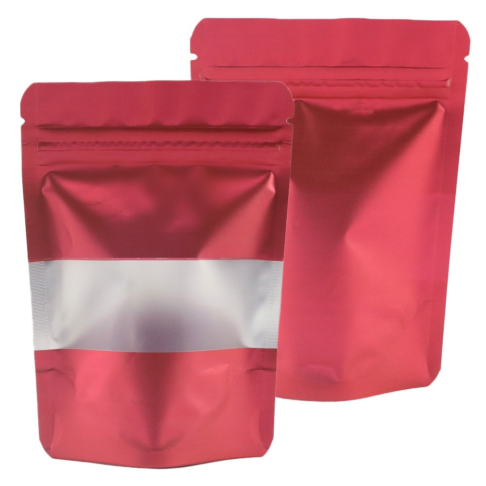 Matte Red Translucent Window Aluminum Mylar Foil Standup Ziplock Bags 9 cm x 13 cm [3.5 inches x 5.1 inches] (500 Bags/Lot)