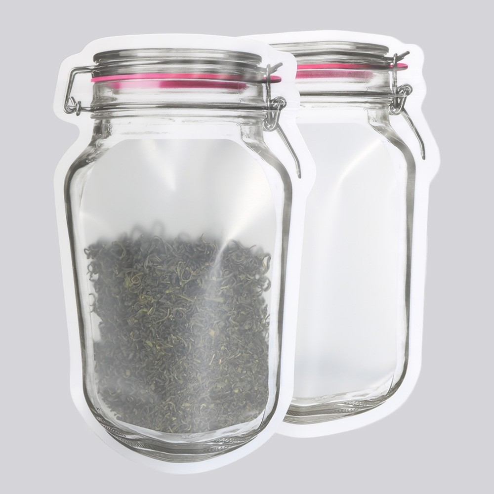 Translucent Red Mason Jar Shape Design Stand-Up Ziplock Bags 15 cm x 24 cm [5.9 inches x 9.4 inches] (500 Bags/Lot)