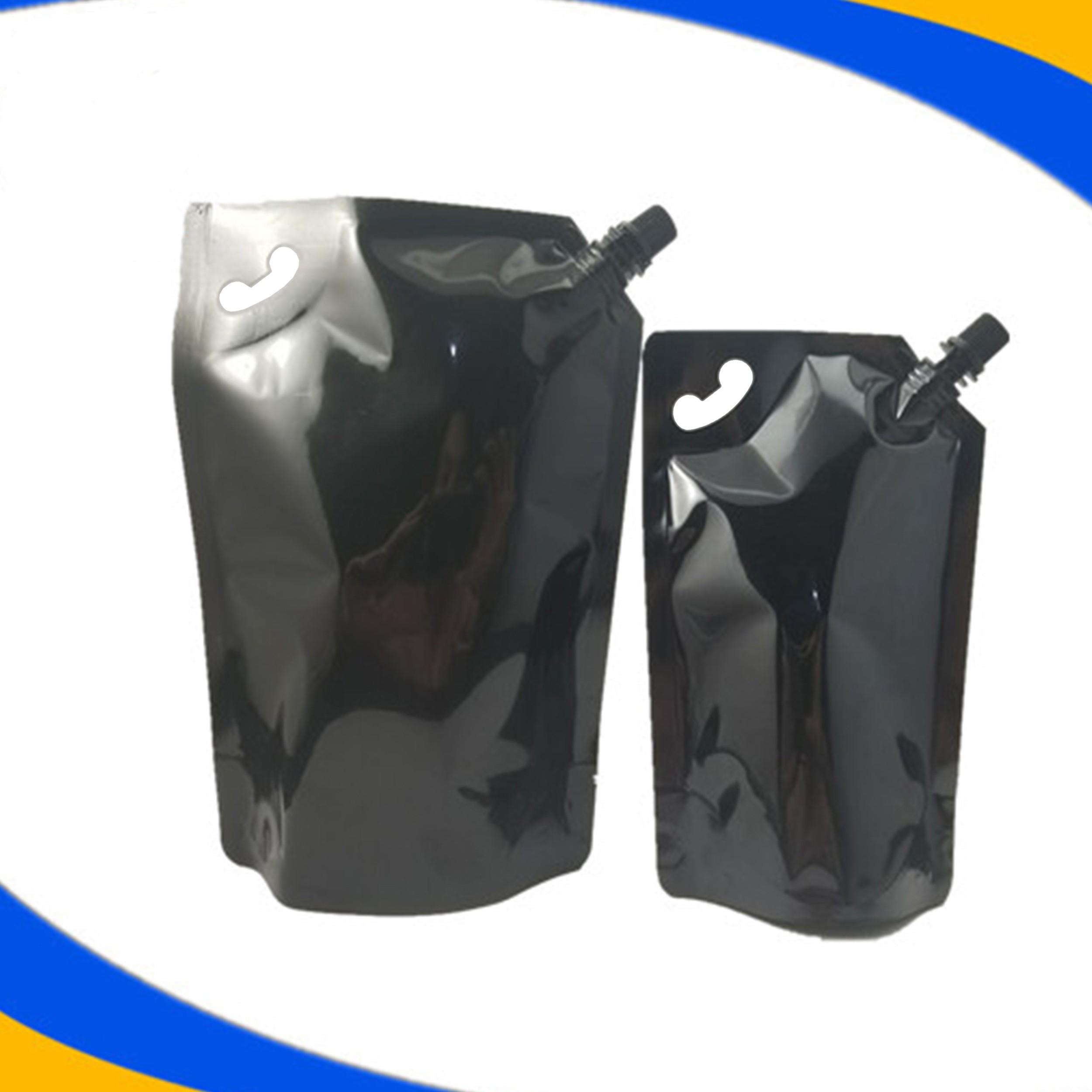 33.8 oz (1000 ml) Heavy-Duty Black Beverage Stand-Up Side Screw Cap Spout Reusable Handle Pouch Bottles (250 Bags/Lot)
