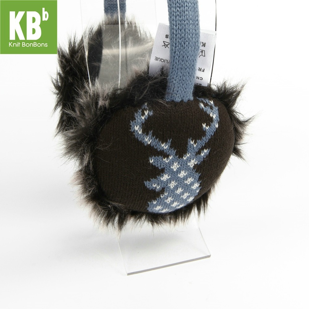 KBB Blue Earmuffs with White Reindeer Design (3 Earmuffs/Lot)