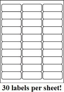 """2.625"""" X 1"""" ADDRESS LABELS 30 PER SHEET (15,000 Labels Per Lot)"""