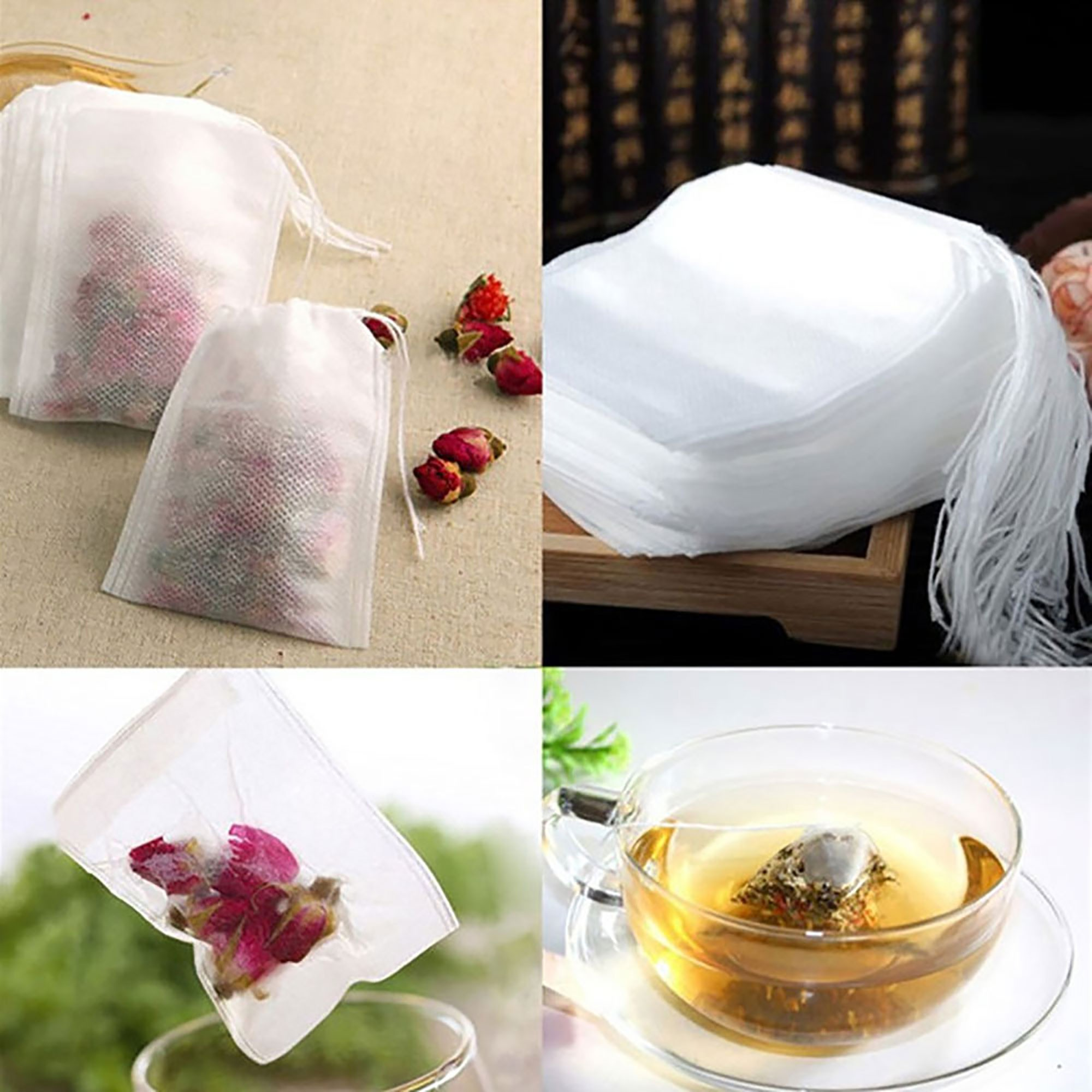 Non-Woven Empty Loose Herbs Teabag with Drawstring [3.5x4 (9x10cm)] (5 packs per lot)