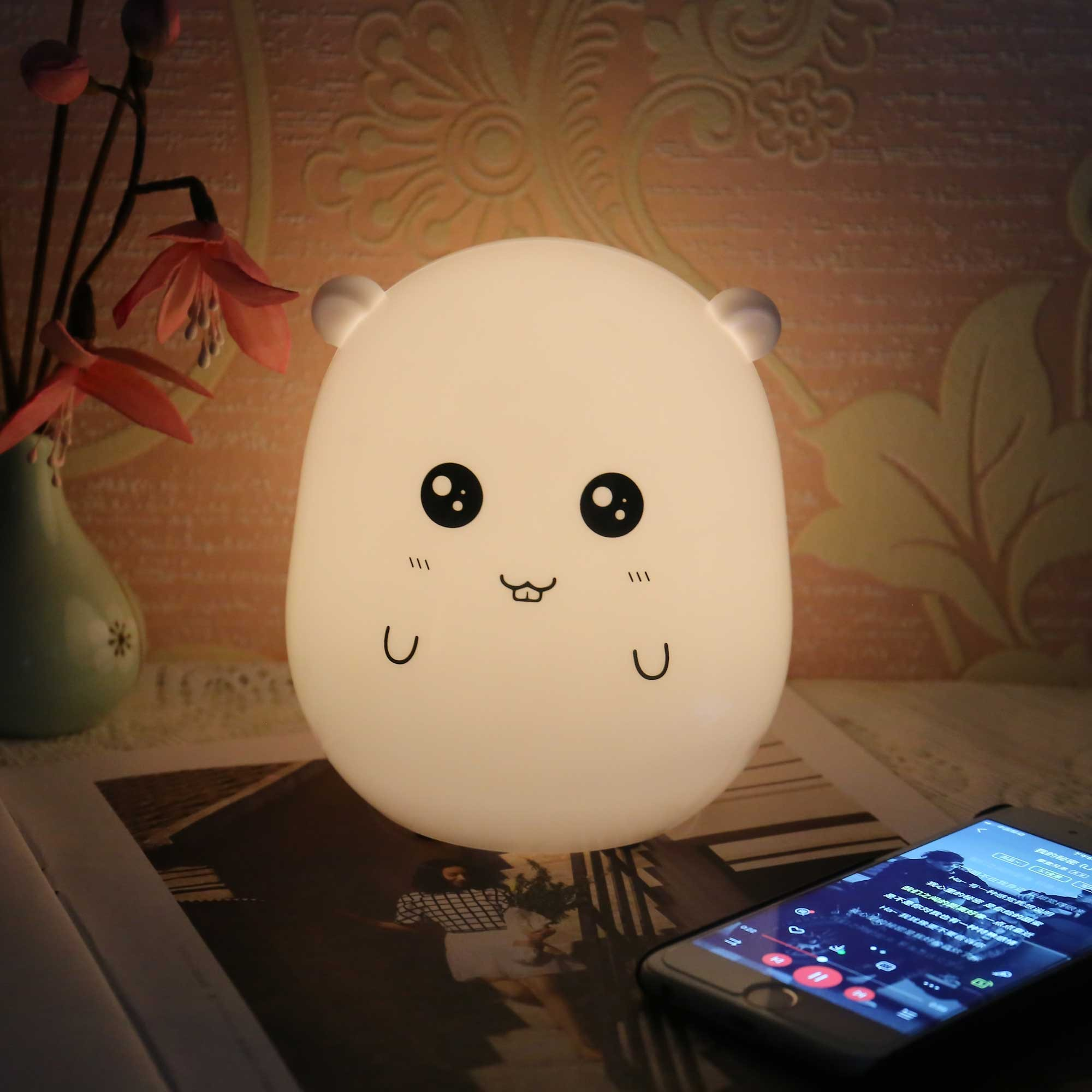7 Color Changing LED Rechargeable Plastic Hamster Children Night Light
