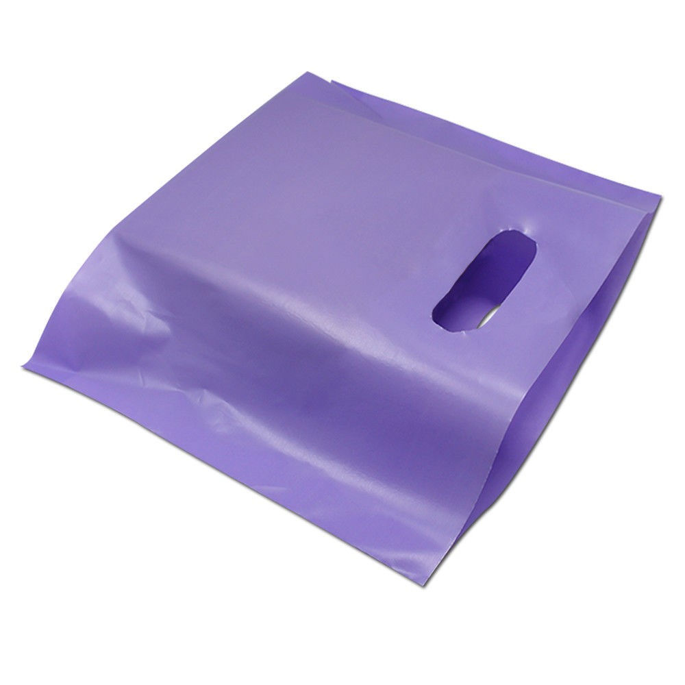 "Glossy Purple Reusable Bottom Gusset Die Cut Handle Bags 33 cm x 26 cm x 4 cm (12.75"" x 10"" x 1.5"") (800 Bags/Lot)"