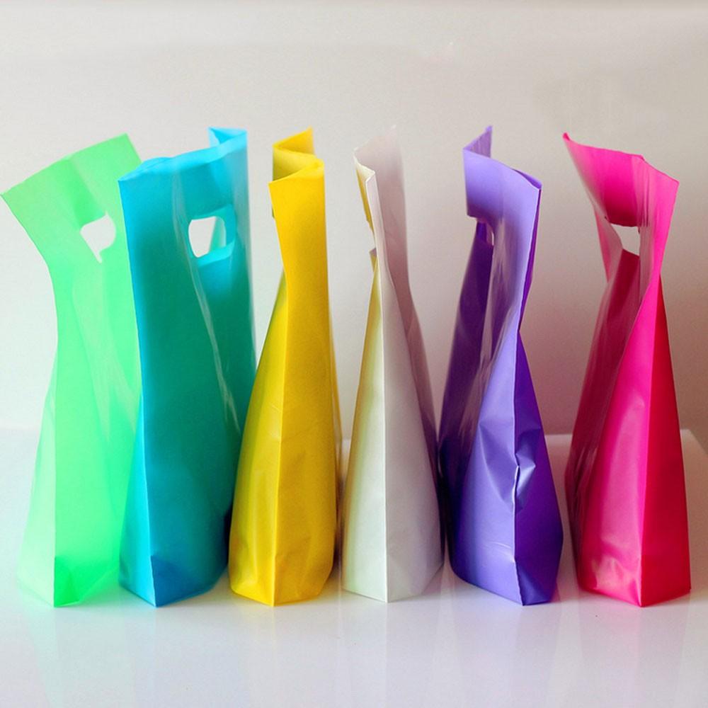 "Glossy White Color Reusable Bottom Gusset Die Cut Handle Bags 27 cm x 22 cm x 3cm (10.5"" x 8.5"" x 1"") (1200 Bags/Lot)"
