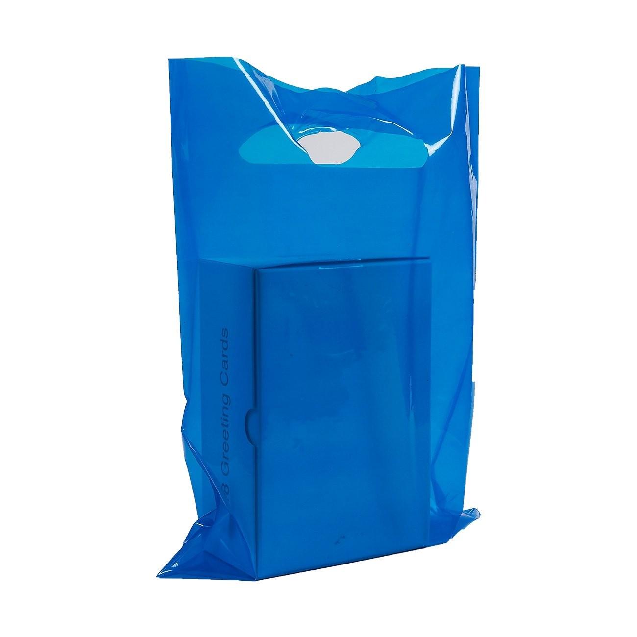 "Glossy Blue Reusable Flat Die Cut Handle Bags 40 cm x 50 cm (15.5"" x 19.5"") (300 Bags/Lot)"