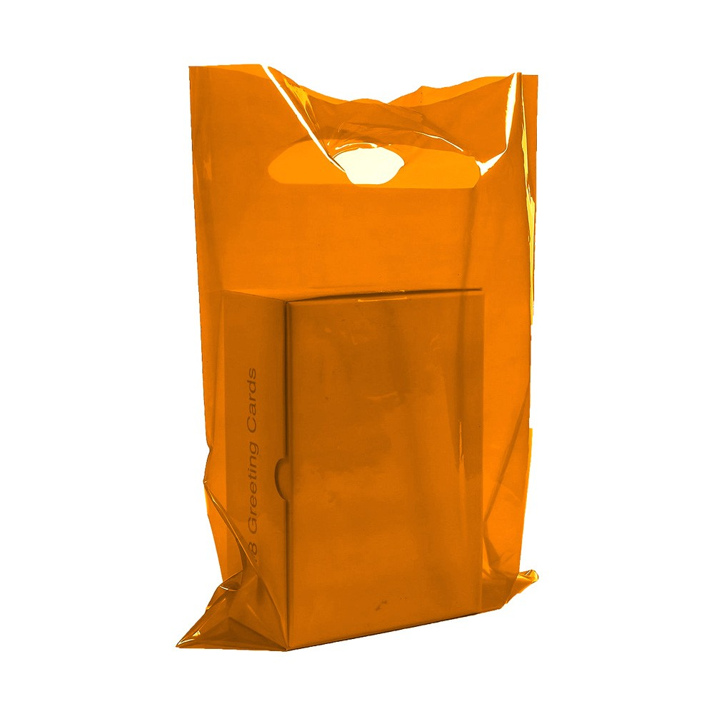 "Glossy Orange Reusable Flat Die Cut Handle Bags 40 cm x 50 cm (15.5"" x 19.5"") (300 Bags/Lot)"