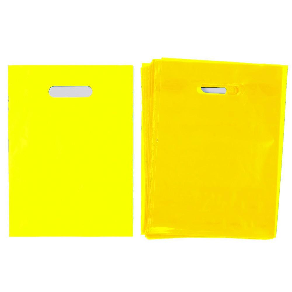 "Glossy Yellow Reusable Flat Die Cut Handle Bags 20 cm x 30 cm (7.75"" x 11.75"") (1100 Bags/Lot)"