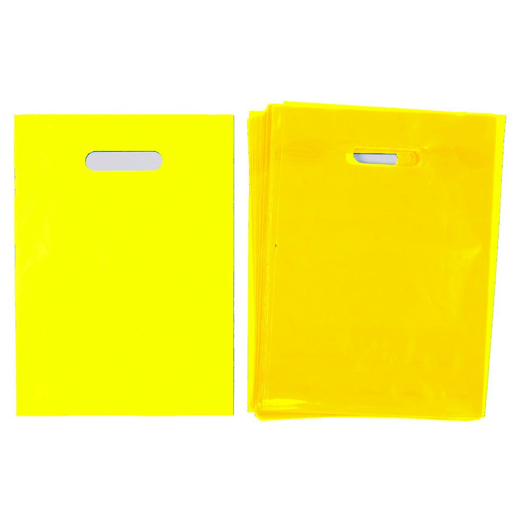 "Glossy Yellow Reusable Flat Die Cut Handle Bags 40 cm x 50 cm (15.5"" x 19.5"") (300 Bags/Lot)"