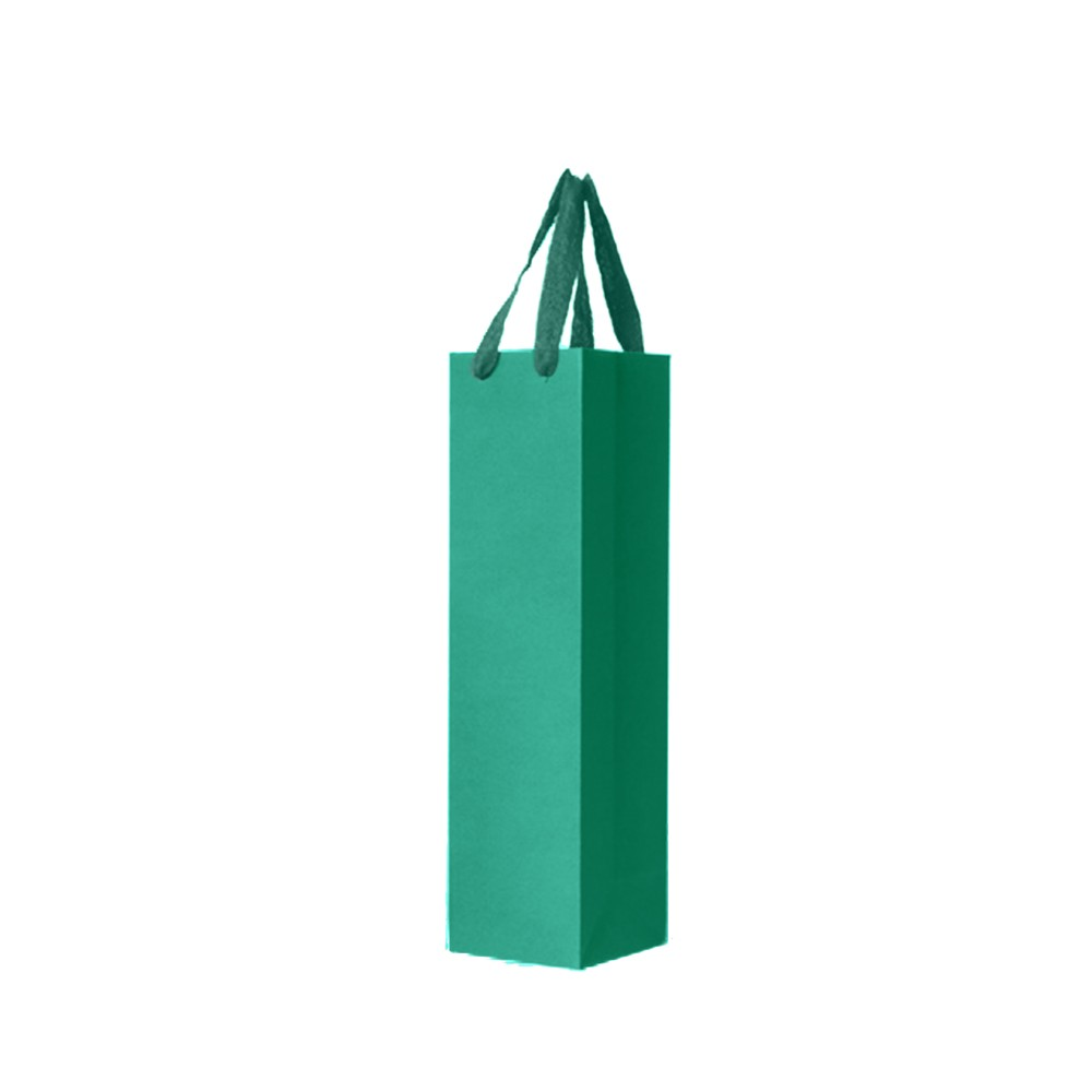 """Green Kraft Paper Bags with Cotton Twill Handle Shopping Bags 11 cm x 36 cm x 11 cm (4.25"""" x 14"""" x 4.25"""") (100 Bags/Lot)"""
