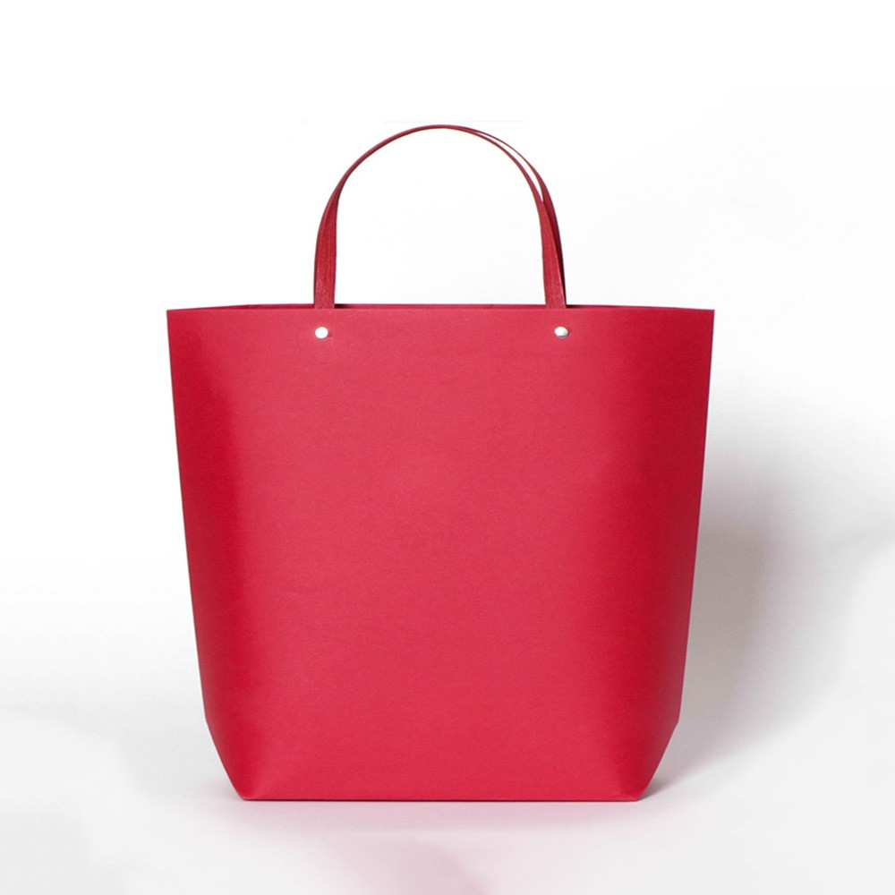 """Red Kraft Paper Bags with Cotton Handle Shopping Bags  27 cm x 25 cm x 9 cm (10.5"""" x 9.75"""" x 3.5"""") (100 Bags/Lot)"""