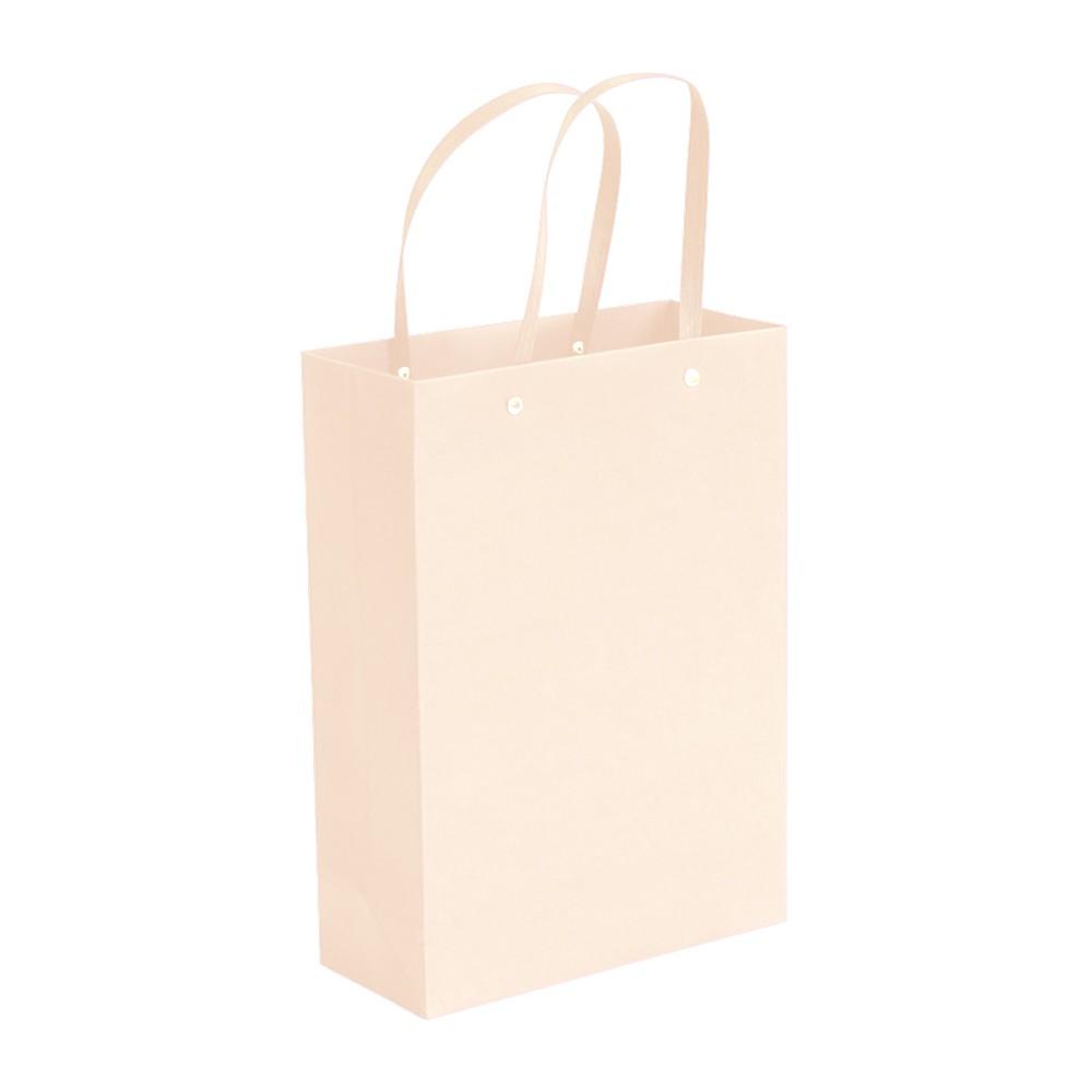 "White Kraft Paper Bags with Rivet String Handle Shopping Bags 23 cm x 33 cm x 10 cm (9"" x 12.75"" x 3.75"") (100 Bags/Lot)"