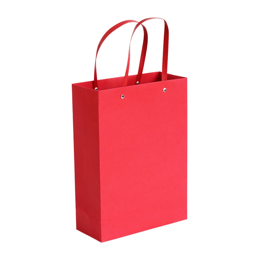 "Red Kraft Paper Bags with Rivet String Shopping Bags 14 cm x 21 cm x 7 cm (5.5"" x 8.25"" x 2.75"") (200 Bags/Lot)"